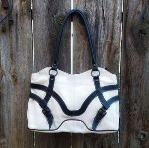 🌹MAURIZIO TAUITI White/Navy Pebbled Leather Tote